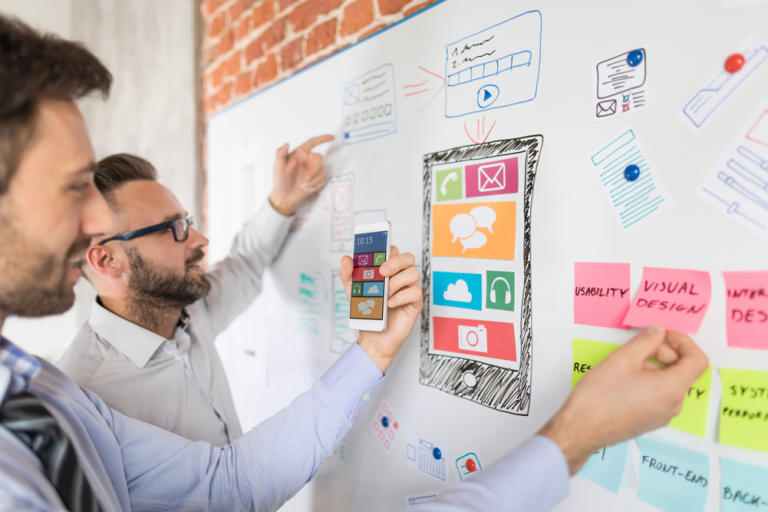 marketers at whiteboard designing in app support for mobile app