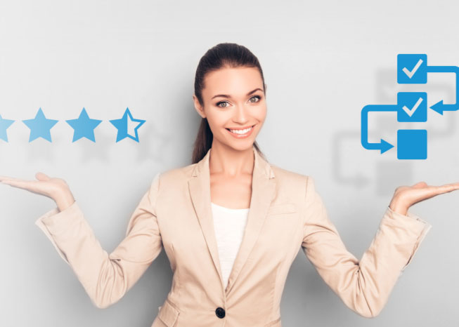 woman showcasing customer service excellence and contact center efficiency